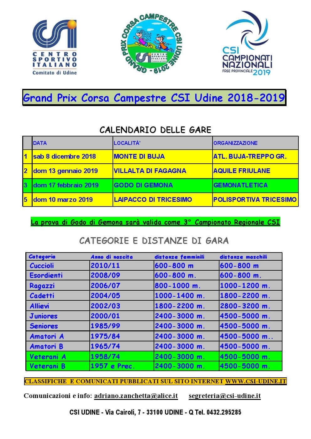 Calendario Csi.Il Calendario Delle Campestri Del Csi Comitato Di Udine Per